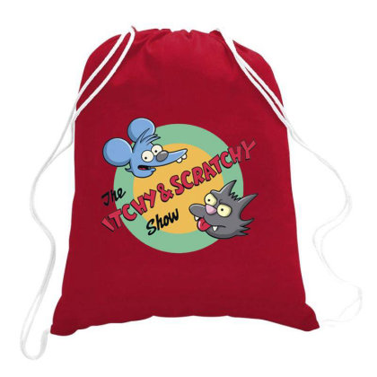 Itchy And Scratchy Show Movie Drawstring Bags Designed By Jeffrey