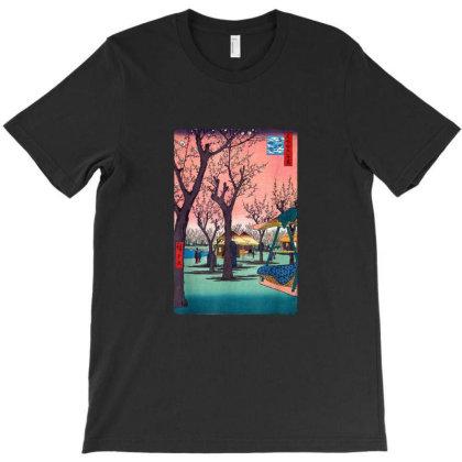 Japanese Cherry Blossom Japanese Woodblock T-shirt Designed By Jeffrey