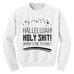 Hallelujah! Holy Shit! Tylenol? - Christmas Gift Funny Youth Sweatshirt | Artistshot