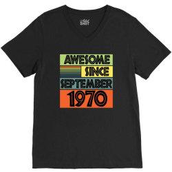awesome since september 1970 V-Neck Tee | Artistshot
