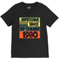 awesome since september 1980 V-Neck Tee | Artistshot
