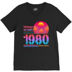 vintage september 1980 limited edition V-Neck Tee | Artistshot