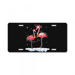 flamingo christmas tree santa hat xmas License Plate | Artistshot