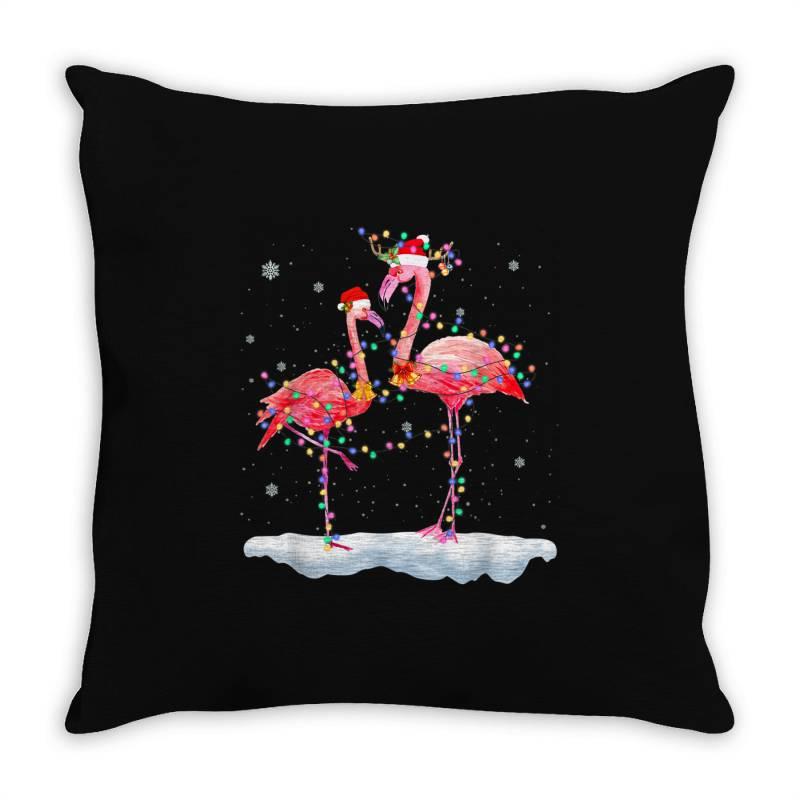 Flamingo Christmas Tree Santa Hat Xmas Throw Pillow | Artistshot