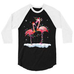 flamingo christmas tree santa hat xmas 3/4 Sleeve Shirt   Artistshot