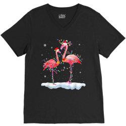 flamingo christmas tree santa hat xmas V-Neck Tee   Artistshot