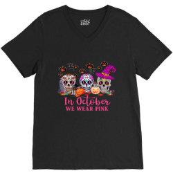In October We Wear Pink Sugar Skull V-Neck Tee   Artistshot