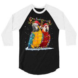 parrot reindeer xmas light christmas 3/4 Sleeve Shirt   Artistshot