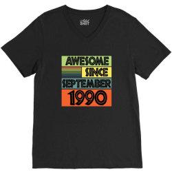 awesome since september 1990 V-Neck Tee | Artistshot