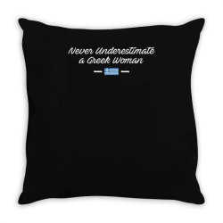 never underestimate a greek woman funny Throw Pillow | Artistshot