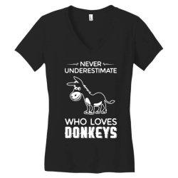 never underestimate who loves donkeys funny Women's V-Neck T-Shirt | Artistshot