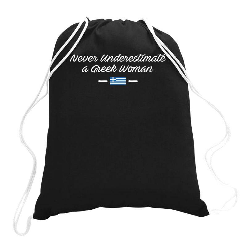 Never Underestimate A Greek Woman Funny Drawstring Bags | Artistshot