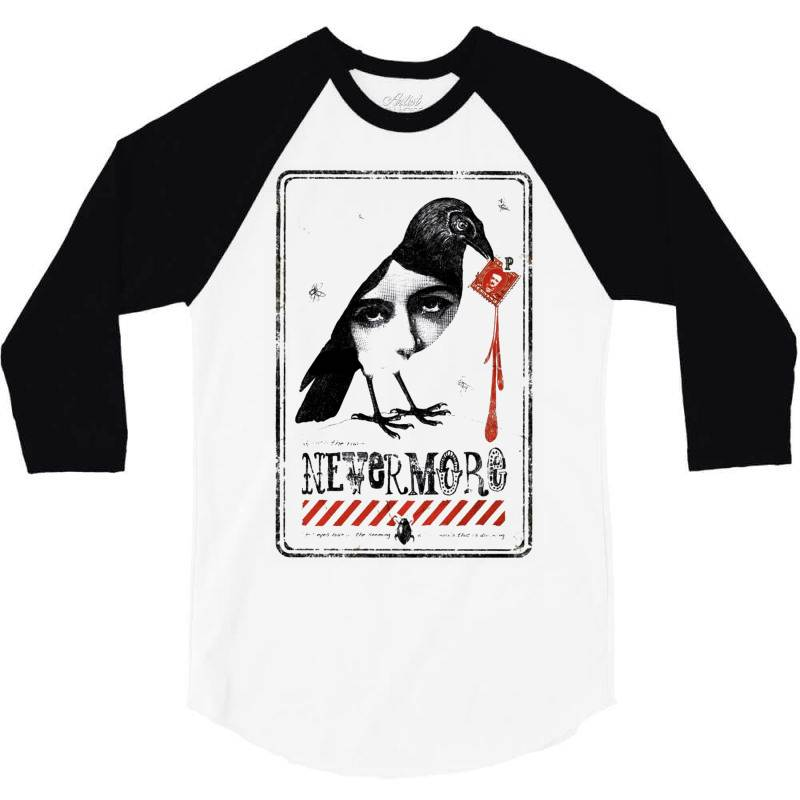 Nevermore Raven 3/4 Sleeve Shirt   Artistshot