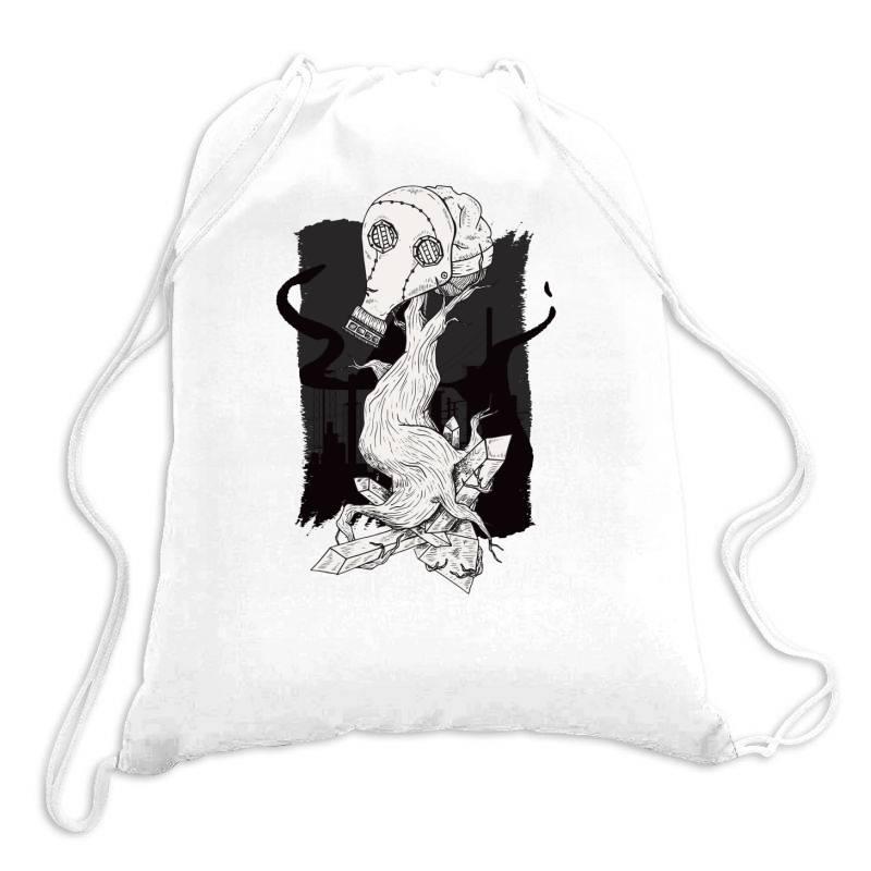 Gas Mask Tree Drawstring Bags | Artistshot