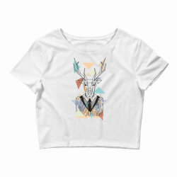 geometric deer Crop Top | Artistshot