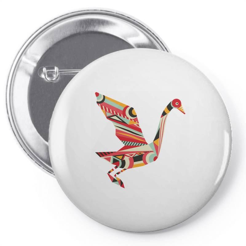 Geometric Shapes Bird Pin-back Button   Artistshot