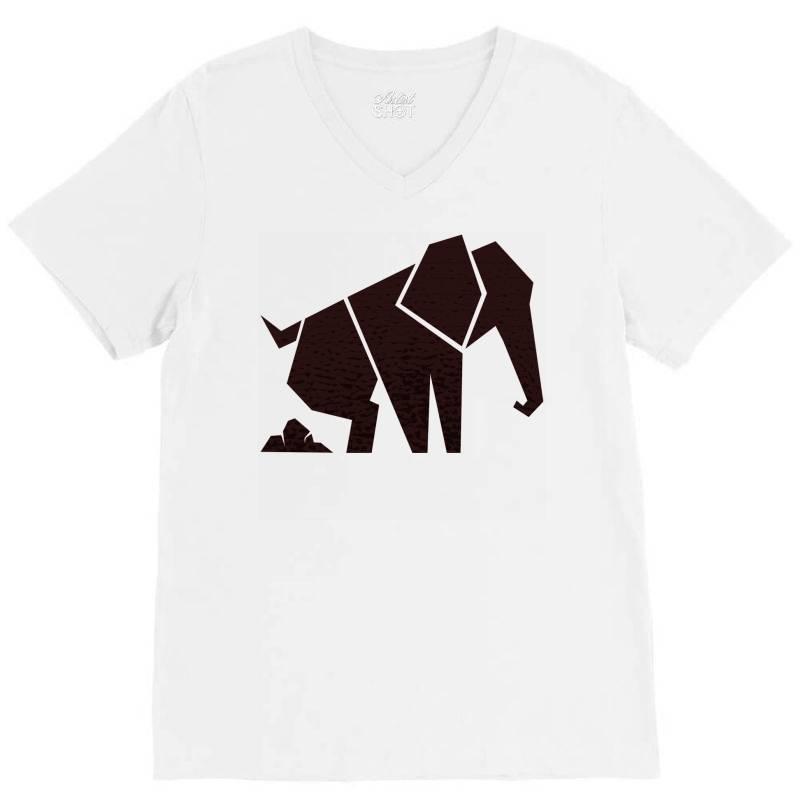 Geometric Elephant V-neck Tee | Artistshot