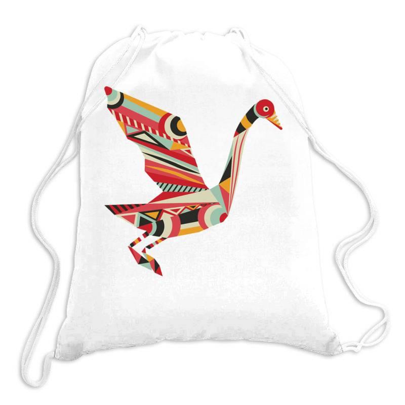 Geometric Shapes Bird Drawstring Bags   Artistshot
