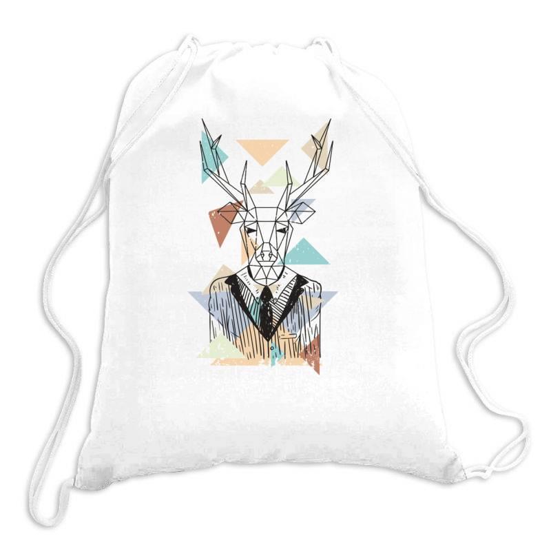 Geometric Deer Drawstring Bags   Artistshot