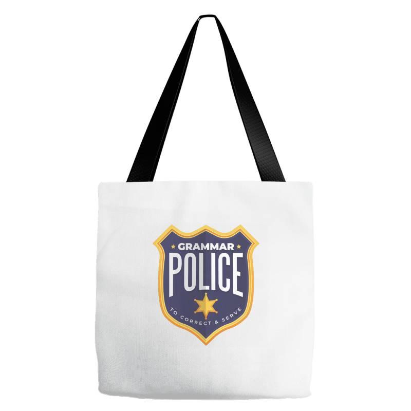 Grammar Police Badge Tote Bags   Artistshot