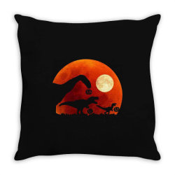t rex dinosaur pumpkin halloween moon Throw Pillow | Artistshot