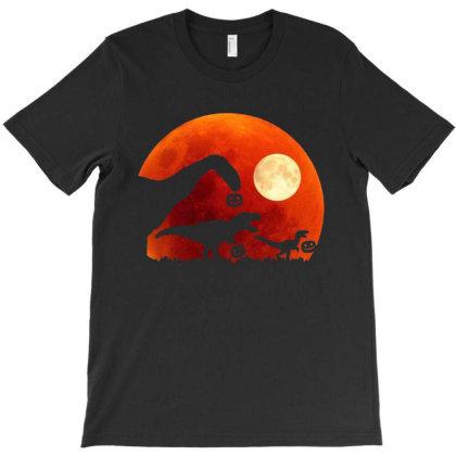 T Rex Dinosaur Pumpkin Halloween Moon T-shirt Designed By Kathrin Sutter