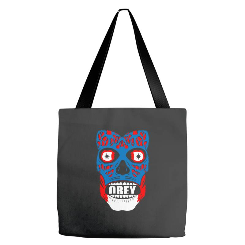 Obey Face Funny Tote Bags | Artistshot