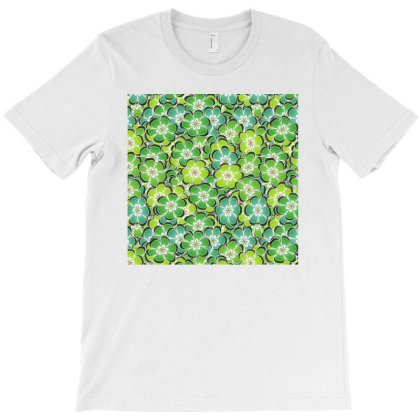 Green Flowers Pattern T-shirt Designed By Fabsign