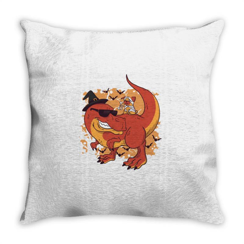 Halloween Pug And Dinosaur Throw Pillow | Artistshot