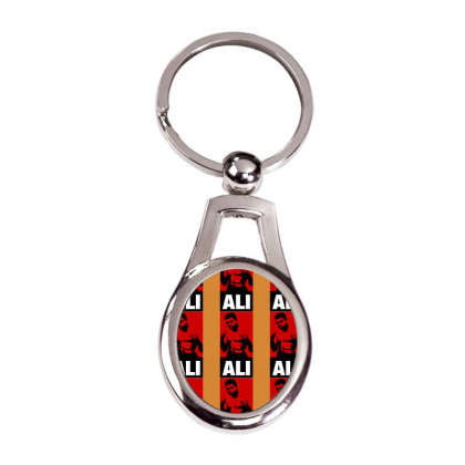 Muhammad Ali Silver Oval Keychain Designed By Tshiart