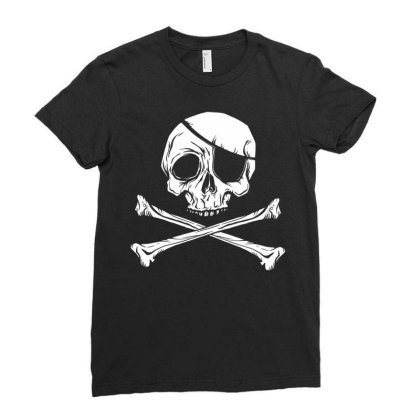 Jolly Roger Pirate Ladies Fitted T-shirt Designed By Zizahart