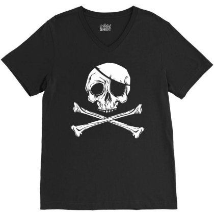 Jolly Roger Pirate V-neck Tee Designed By Zizahart