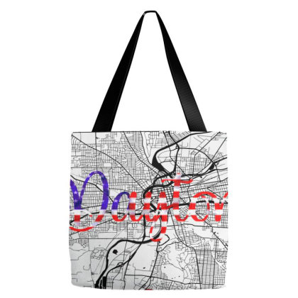 Dayton Road Map Art - Earth Tones Tote Bags Designed By Artistic Paradigms