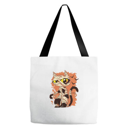 Mummy Cat Funny Halloween Cartoon Tote Bags Designed By Zizahart
