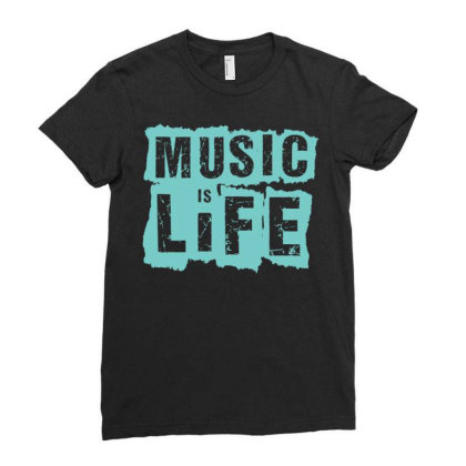 Music Is Life Ladies Fitted T-shirt Designed By Zizahart