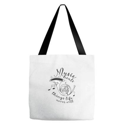 Music Heals Tote Bags Designed By Zizahart