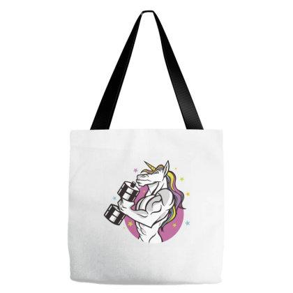 Muscular Unicorn Tote Bags Designed By Zizahart