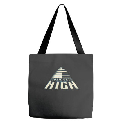 Music Gets Me Way Up High Tote Bags Designed By Zizahart
