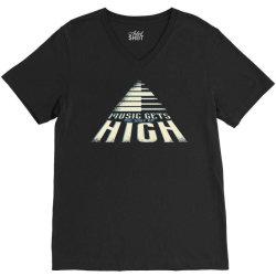 music gets me way up high V-Neck Tee | Artistshot