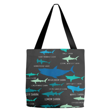 Types Of Shark Megalodon Great White Nurse Shark Tote Bags Designed By Roderick