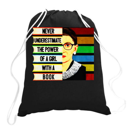 Never Underestimate The Power Of A Girl With A Book Drawstring Bags Designed By Smile 4ever