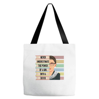 Feminist Ruth Bader Ginsburg Rbg Quote Girl With Book Women Tote Bags Designed By Amber Petty