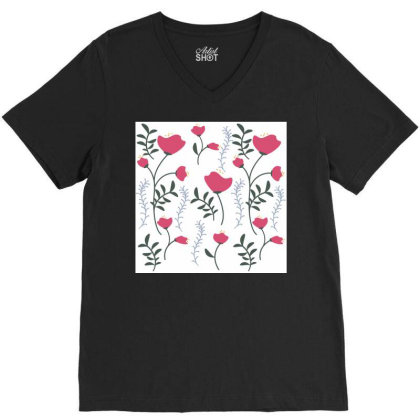 Poppy Floral Design V-neck Tee Designed By American Choice