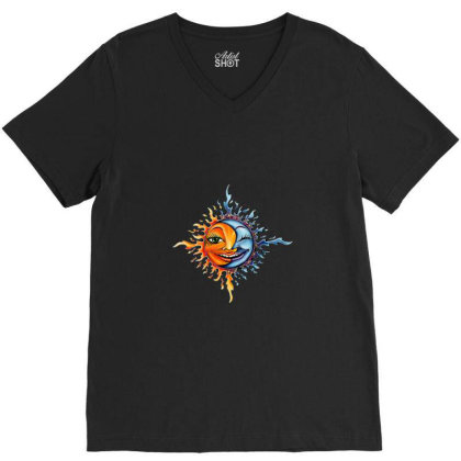 Sun And Moon V-neck Tee Designed By Gilaban