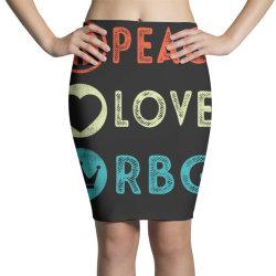 notorious rbg ruth bader ginsburg peace love Pencil Skirts   Artistshot