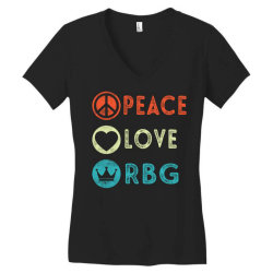 notorious rbg ruth bader ginsburg peace love Women's V-Neck T-Shirt | Artistshot
