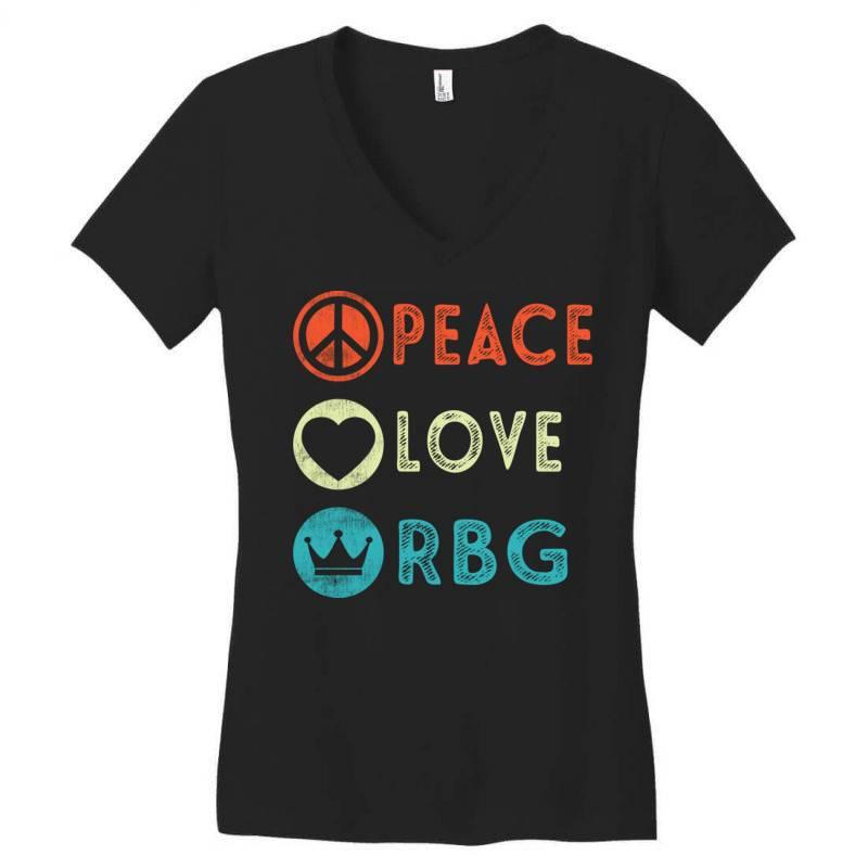 Notorious Rbg Ruth Bader Ginsburg Peace Love Women's V-neck T-shirt | Artistshot