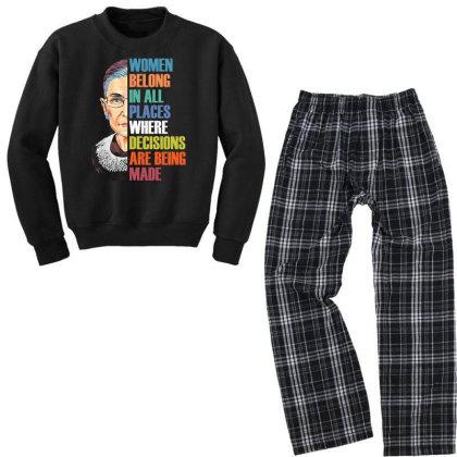 Women Belong In All Places Ruth Bader Ginsburg Youth Sweatshirt Pajama Set Designed By Kakashop