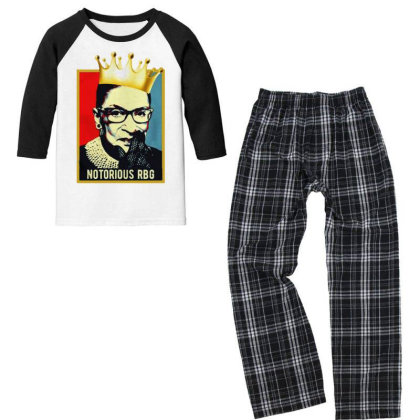 Notorious Ruth Bader Ginsburg Rbg Youth 3/4 Sleeve Pajama Set Designed By Tht