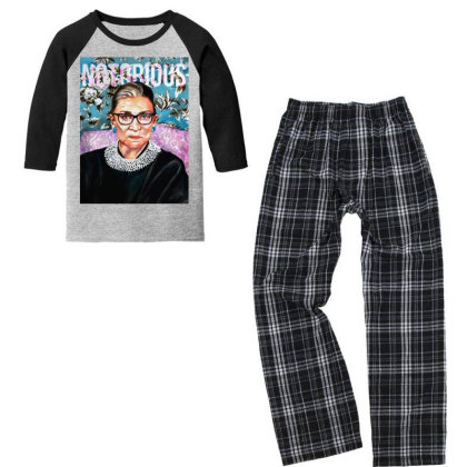 Notorious Rbg  Bader Ginsburg Youth 3/4 Sleeve Pajama Set Designed By Tht